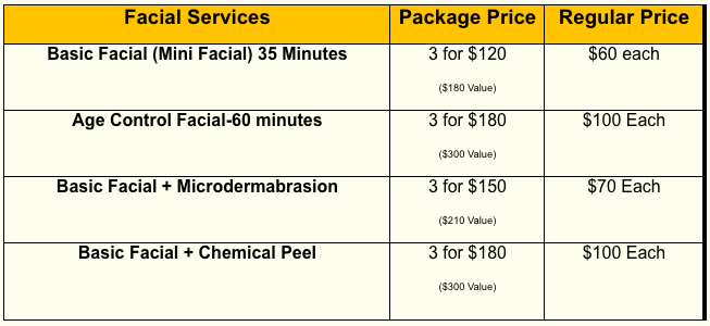 Facial Services Price Menu